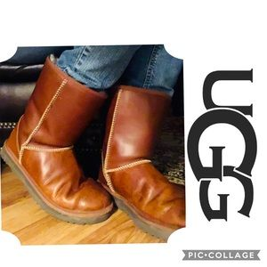 Smooth Leather short Ugg Boots Uk 8.5 W10 tan